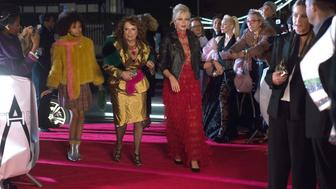 """(From L-R): Indeyarna Donaldson Holness as """"Lola,"""" Jennifer Saunders as """"Edina"""" and Joanna Lumley as """"Patsy"""" in the film ABSOLUTELY FABULOUS: THE MOVIE. Photo by David Appleby. © 2016 Twentieth Century Fox Film Corporation All Rights Reserved"""