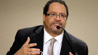 NEW YORK, NY - APRIL 10:  Author Dr. Michael Eric Dyson speaks during the Black Male Panal during the second day of the 2014 National Action Network Convention at the Sheraton New York on April 10, 2014 in New York City.  (Photo by J. Countess/Getty Images)