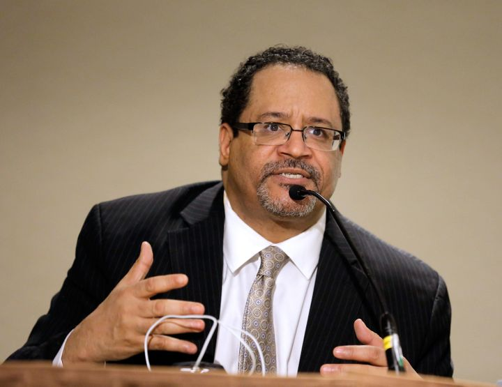 Author Dr. Michael Eric Dyson speaks during the Black Male Panal during the second day of the 2014 National Action Network Co