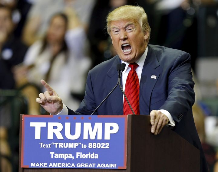 U.S. Republican presidential candidate Donald Trump speaks during a campaign stop in Tampa, Florida, on Feb. 12.