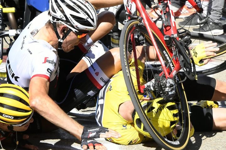 Three of the top contendors in the Tour de France all crashed during Stage 12