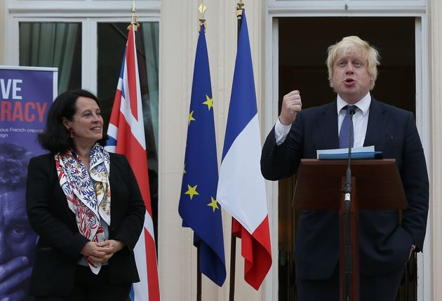 Boris Johnson at his first engagement as Foreign Secretary, at the French