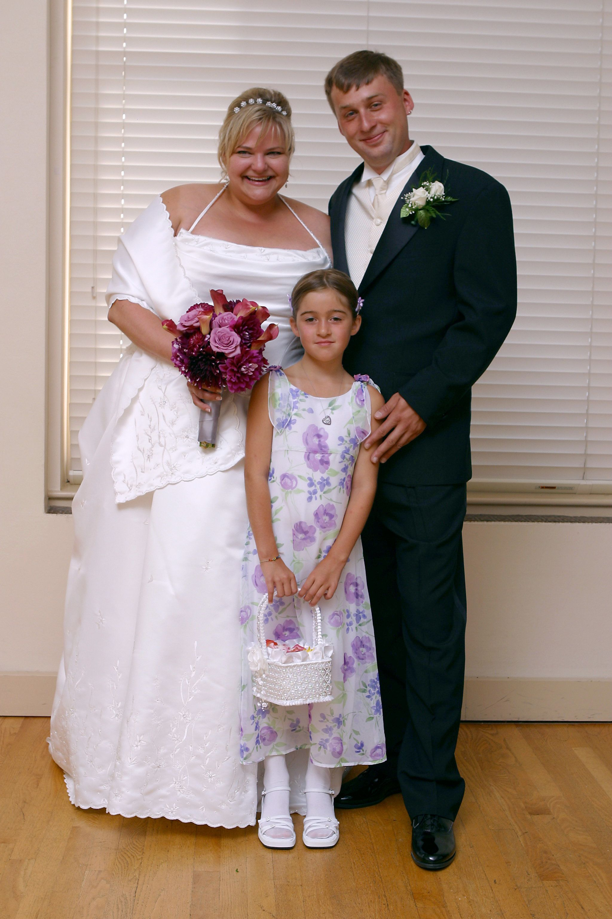 Writer Katherine Hedland Hansen on her wedding day in 2003. Her stepdaughter Haley served as flower girl.