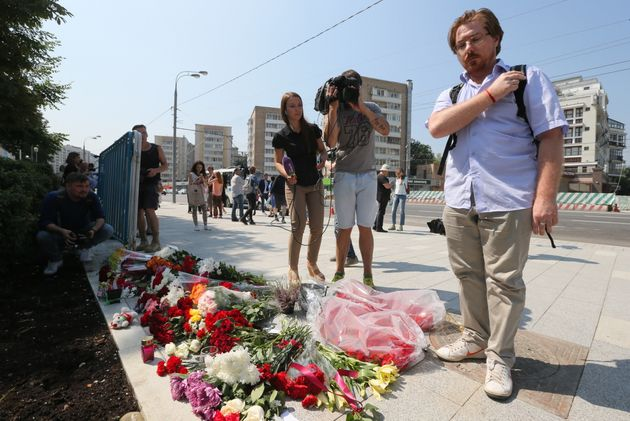 Flowers outside the French Embassy in Moscow commemorating victims of the 2016 terror attack in the French...