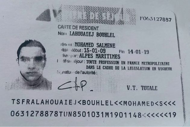 This ID card bearing the name of Mohamed Lahouaiej