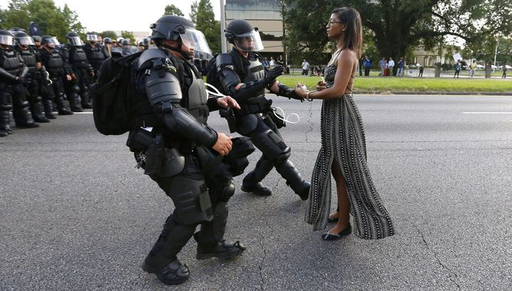 Ieshia Evans faces down police during a Black Lives Matter rally.