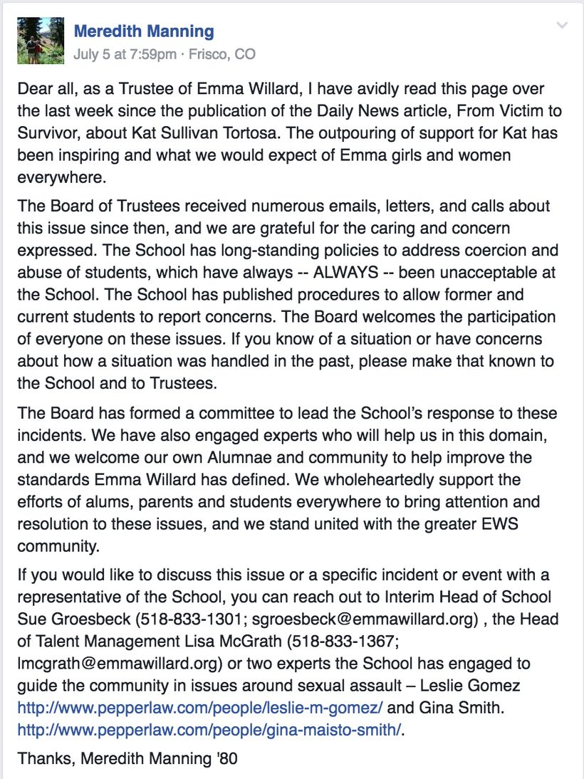 July 5th letter from EWS Alumna and Trustee Meredith Manning to the EWS Alumnae Against Sexual Assault Facebook group