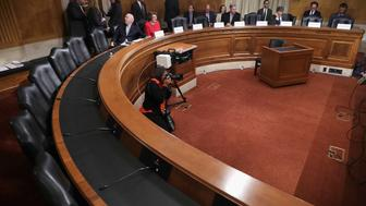 WASHINGTON, DC - MAY 18:  Democratic members of the Senate Judicary Committee convene a meeting to discuss what they see as Supreme Court nominee Merrick Garland's qualifications to serve on the high court in the Dirksen Senate Office Building on Capitol Hill May 18, 2016 in Washington, DC. Democrats left half the seats at the dais vacant so to emphasize the Senate Republicans' opposition to holding confirmation hearings for Judge Garland.  (Photo by Chip Somodevilla/Getty Images)