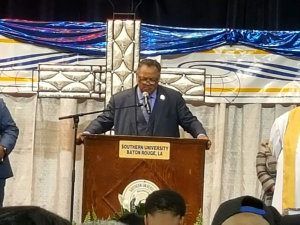 Jesse Jackson speaks at the funeral of Alton Sterling.