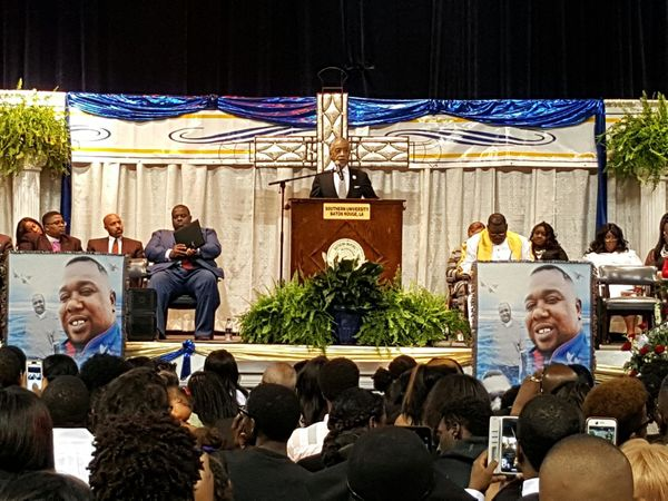 The Rev. Al Sharpton speaks at Alton Sterling's funeral.