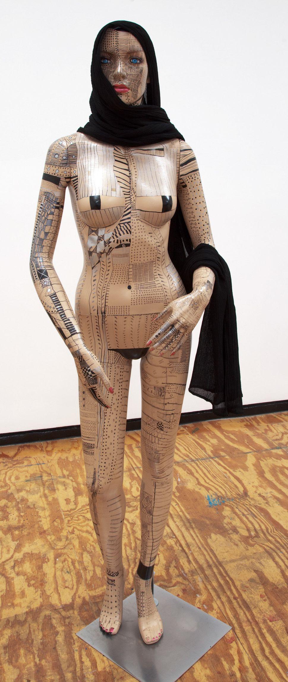Mannequin, 2010, ink, mannequin, headscarf.