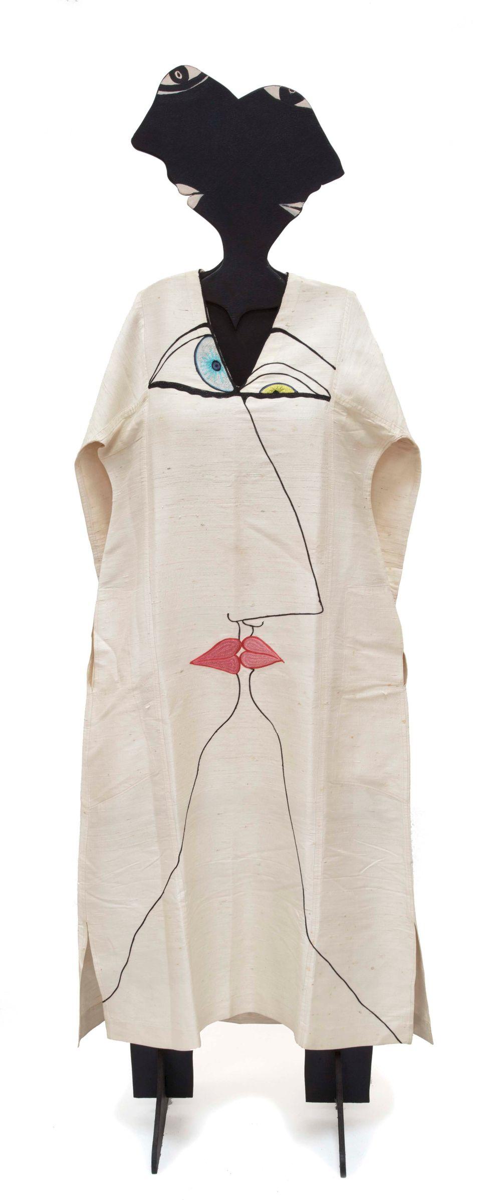 Tete-a-tete(dress #3), 1971, thread on fabric.