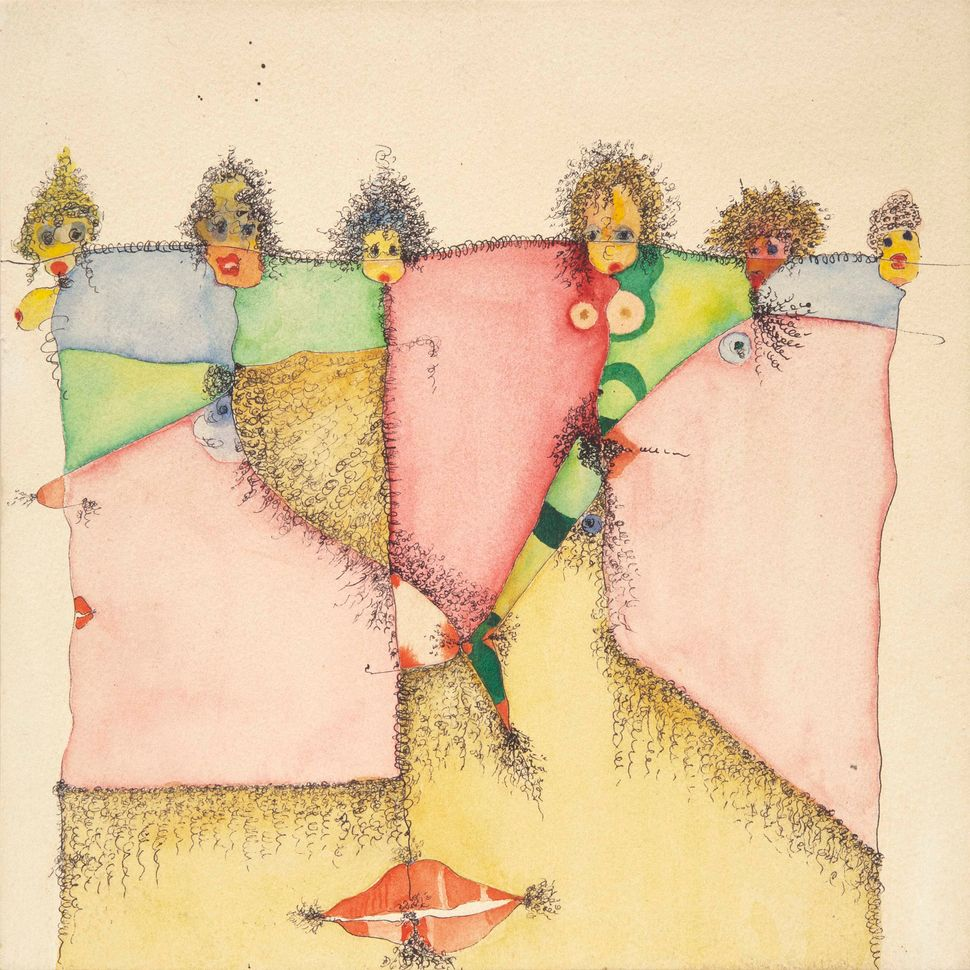 Homage to Pubic Hair, 1992, mixed media on paper over panel.