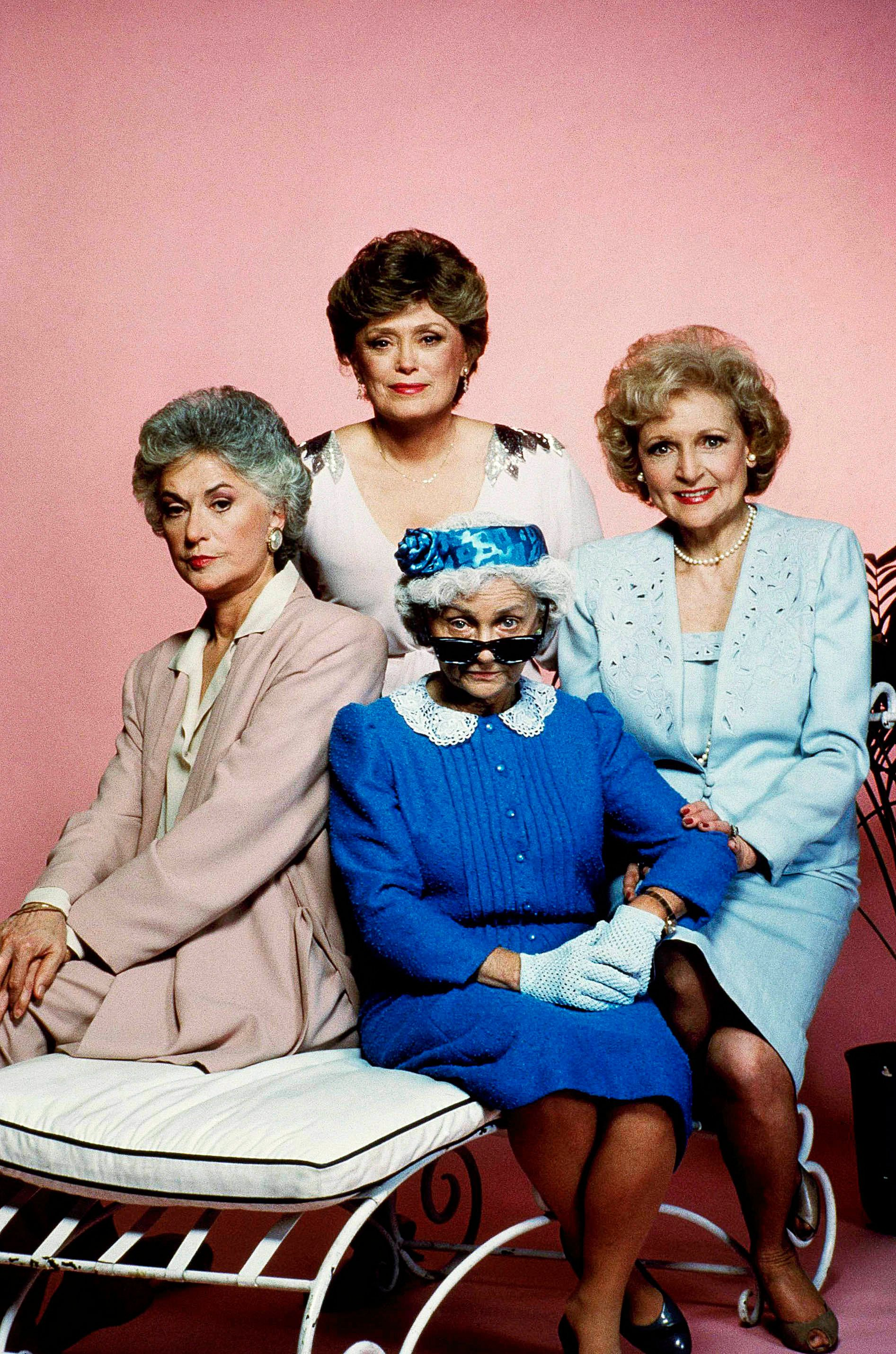 """** FILE ** Cast members of the television series """"Golden Girls,"""" pose for a photo, clockwise from left, Bea Arthur, Rue McClanahan, Betty White and Estelle Getty. Getty, the diminutive actress who spent 40 years struggling for success before landing a role in 1985 as the sarcastic octogenarian Sophia on """"The Golden Girls,"""" died Tuesday, July 22, 2008, at her Los Angeles home. She was 84. (AP Photo/File)"""