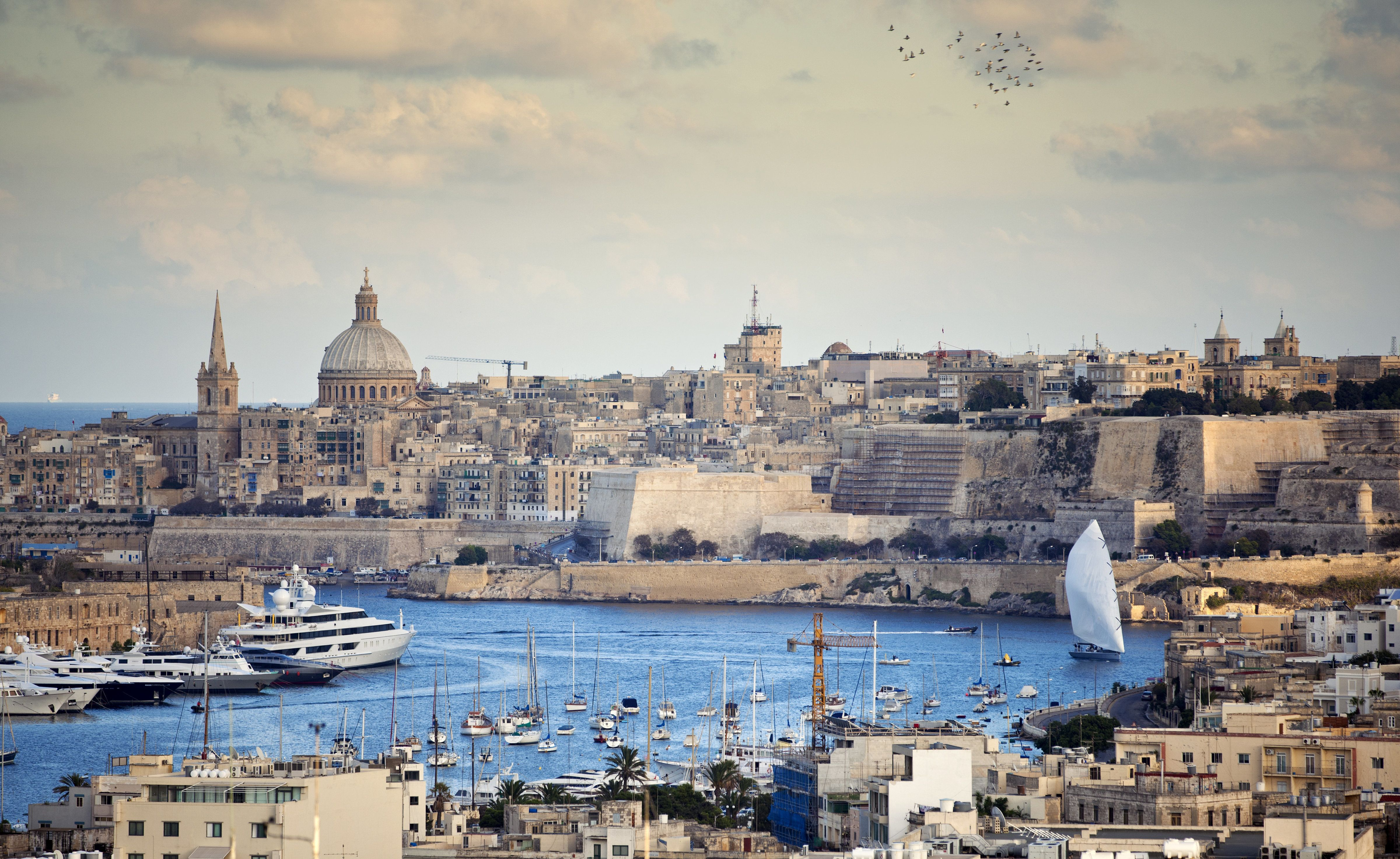 The capital city of Malta, Valletta as seen from a distance.