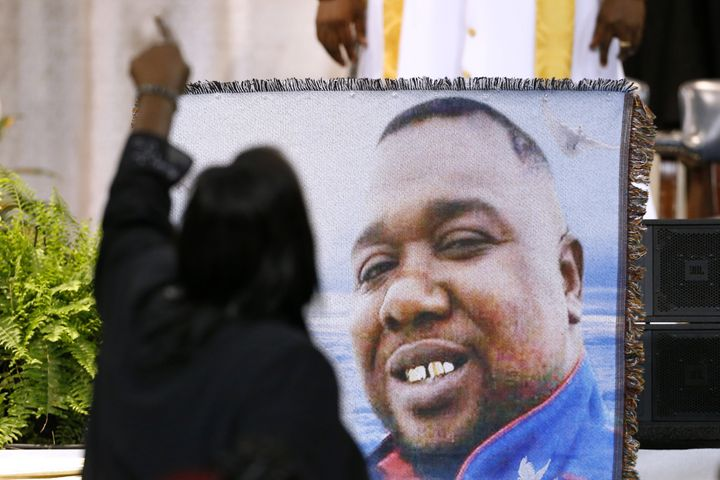 Mourners pay their respects to Alton Sterling at his funeral Friday in Baton Rouge.