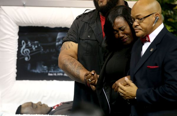 Sandra Sterling, aunt of Alton Sterling, cries during the funeral of her nephew.