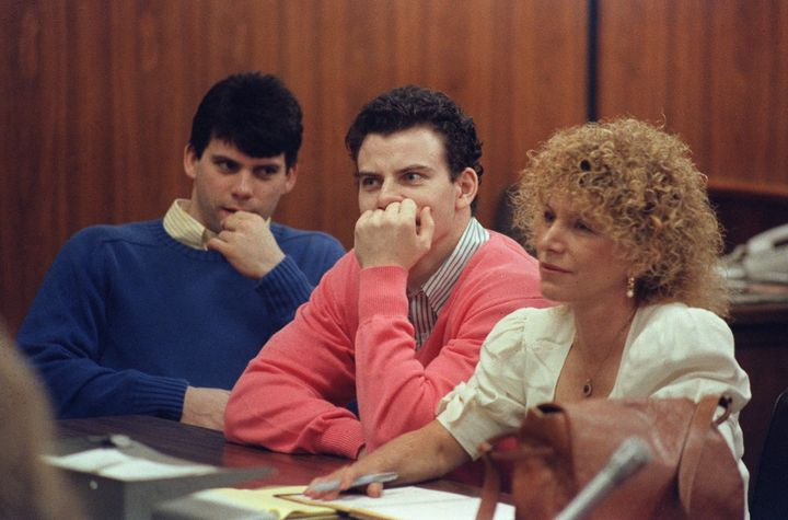 Erik Menendez and his brother Lyle pictured in courton August 12, 1991.