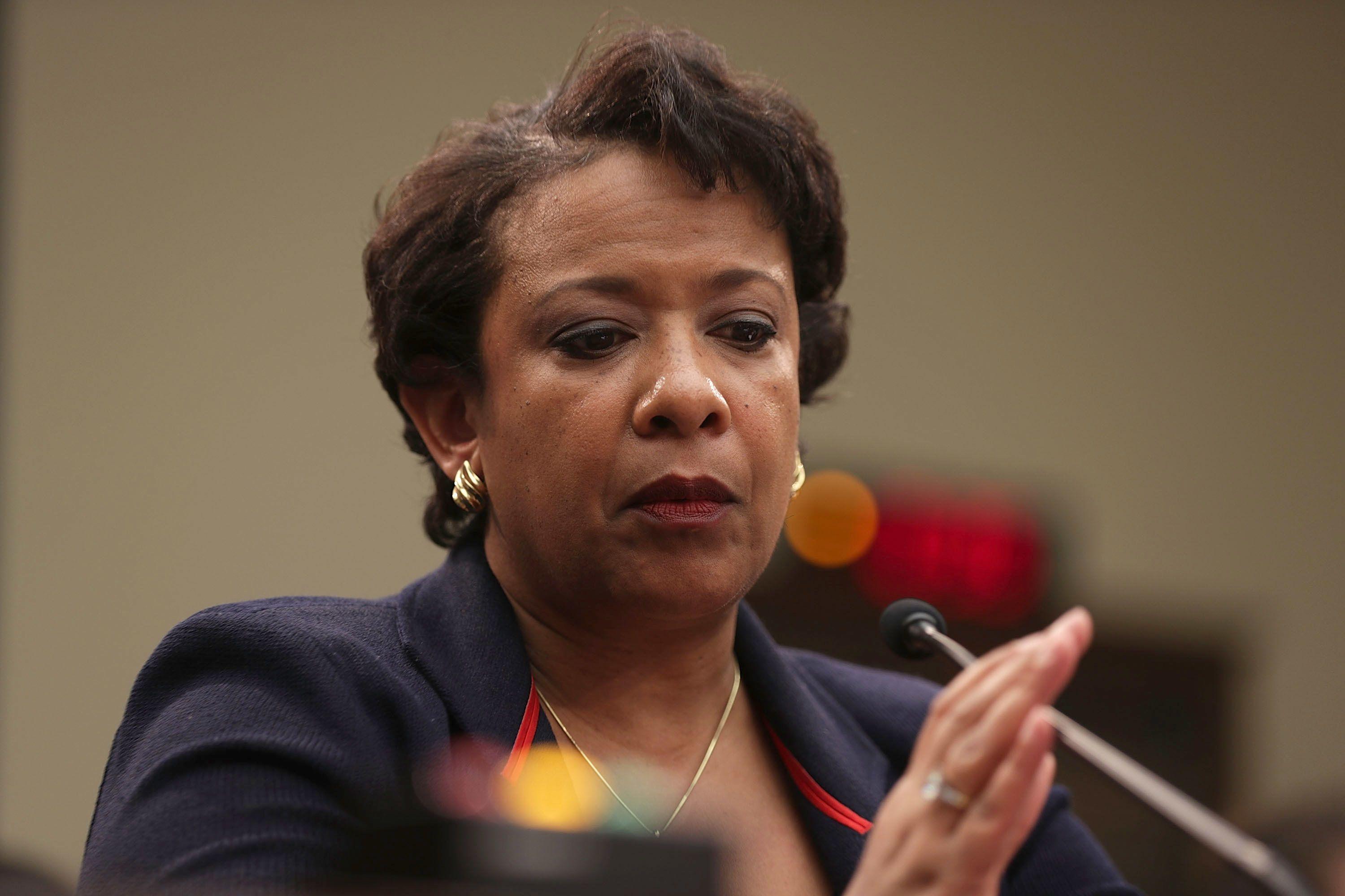 WASHINGTON, DC - JULY 12:  U.S. Attorney General Loretta Lynch testifies during a hearing before the House Judiciary Committee July 12, 2016 on Capitol Hill in Washington, DC. The committee held a hearing on 'Oversight of the Justice Department.'  (Photo by Alex Wong/Getty Images)