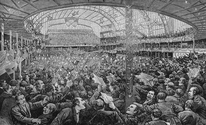 A crowd in Chicago'sAuditorium Building during the 1888 Republican National Convention.