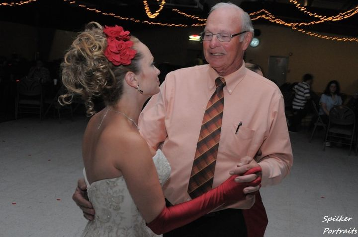 Trish at her second wedding, dancing with her ex-father-in-law.