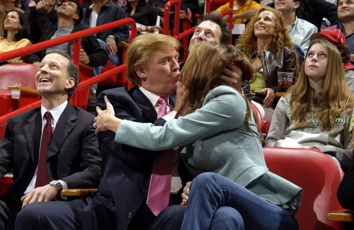 """Donald Trump and then-fianc&eacute;e Melania&nbsp;take&nbsp;part in <a href=""""http://espn.go.com/espn/photos/gallery/_/id/8176801/image/6/donald-trump-melania-knauss-memorable-kiss-cam-moments"""" target=""""_blank"""">the Miami Heat 'Kiss Me Cam' tradition</a>&nbsp;in 2004, a year before their marriage."""