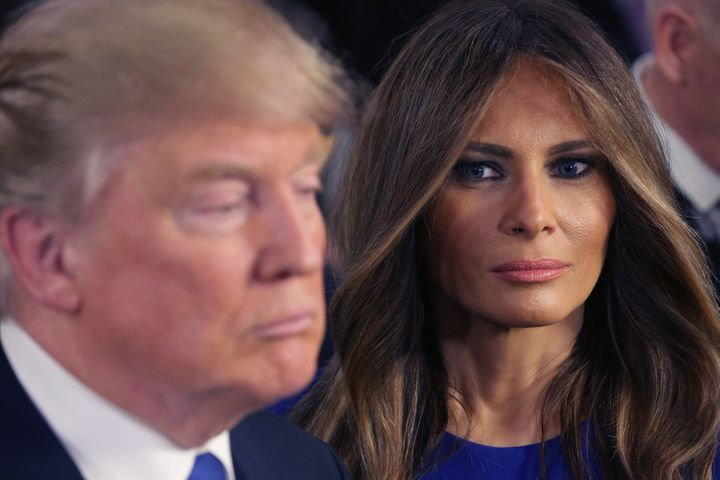 """He'll debate his political rivals, but there's no debate&nbsp;in his marriage. Here, Donald Trump and his wife Melania greet reporters <a href=""""http://www.huffingtonpost.com/entry/gop-debate-live-updates_us_56d8bdd2e4b0000de403ec3c"""">following a debate</a>&nbsp;on&nbsp;March 3, 2016."""