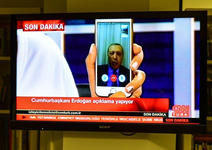 President Recep Tayyip Erdogan speaks on CNN Turk via FaceTime.