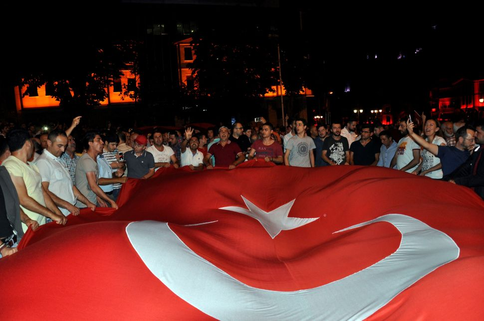 People gather in Ankara in reaction to the attempted coup.