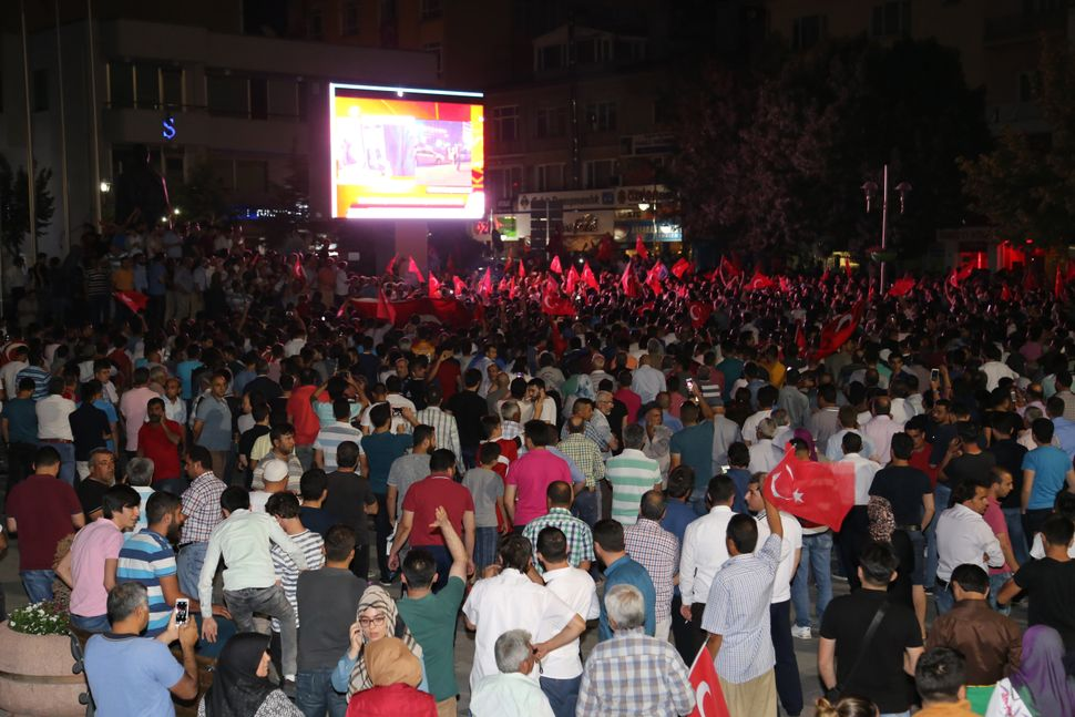 People gather in Aksaray, Turkey.