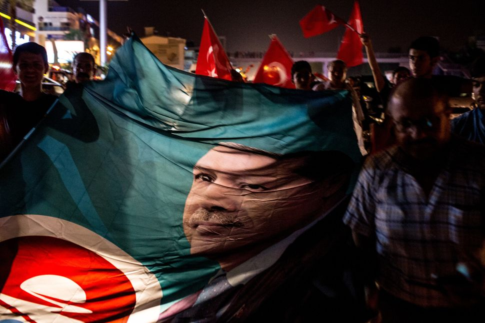 People take to the street in support of President Erdogan in Antalya.
