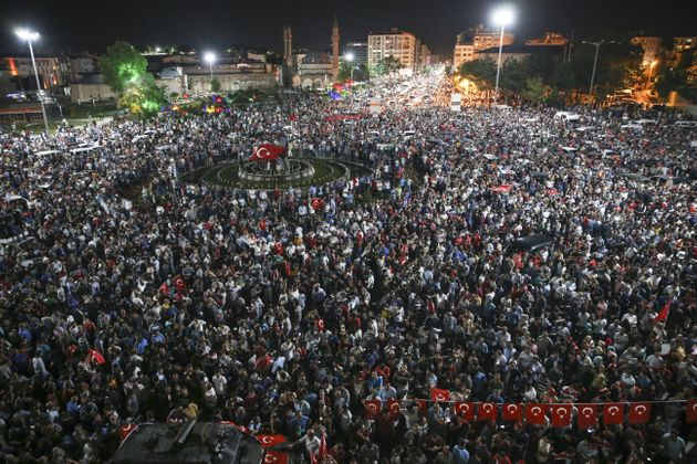 People in Sivas, Turkey, turned out to protest the coup attempt