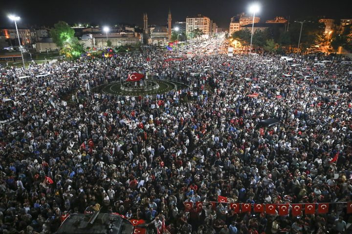 People in Sivas, Turkey, turned out to protest the coup attempt earlySaturday.