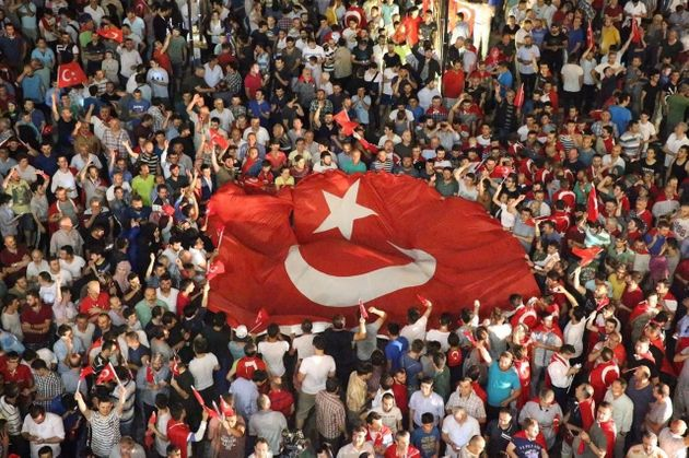People react against the attempted coup in Ordu, Turkey, on