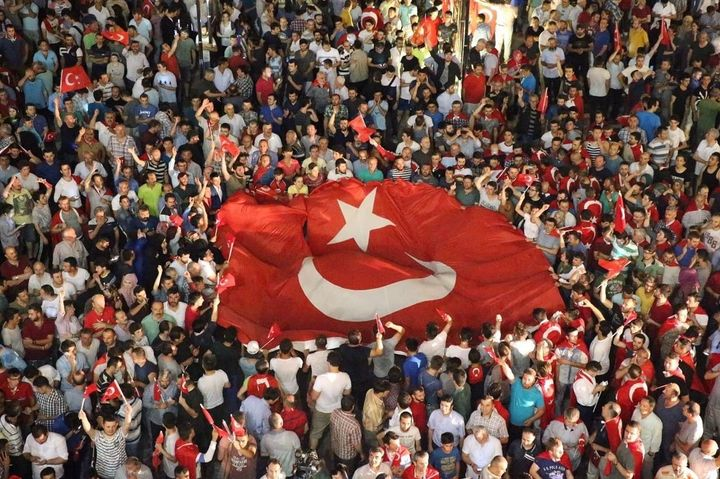 People react against the attempted coup in Ordu, Turkey, on Saturday.