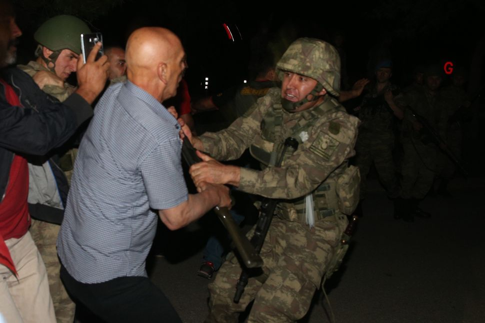 A group of soldiers are being neutralized after trying to storm into Turkish Radio and Television Corporation (TRT) in Ankara