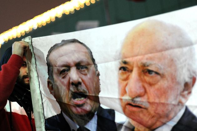 A poster from 2013 with side-by-side images of Recep Tayyip Erdogan and Fethullah