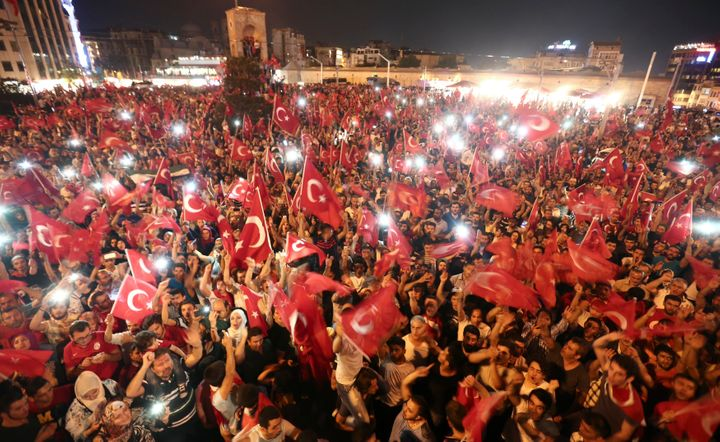 Turks gather on Taksim Square in Istanbul.