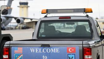 A service vehicle with a sign reading 'Welcome to Incirlik' is pictured at the air base in Incirlik, Turkey, January 21, 2016. REUTERS/Tobias Schwarz/Pool