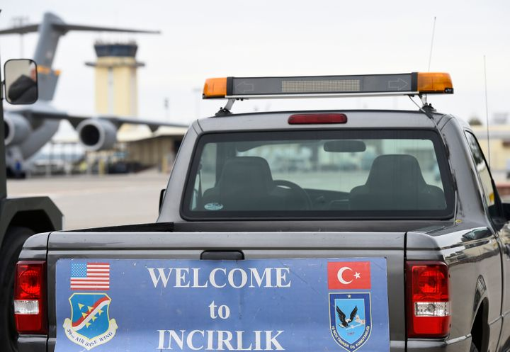 A service vehicle with a sign reading 'Welcome to Incirlik' is pictured at the air base in Incirlik, Turkey, January 21, 2016
