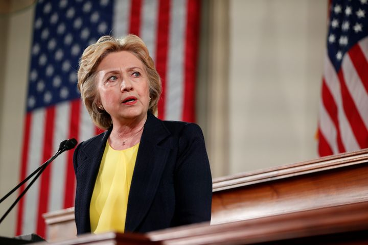 Democratic U.S. presidential candidate Hillary Clinton speaks at the Old State House in Springfield, Illinois, July 13, 2016.