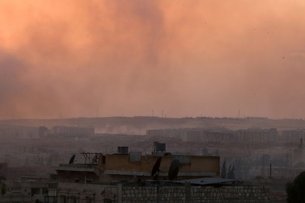 Smoke rises after airstrikes on Aleppo's Castello road, Syria June 2,
