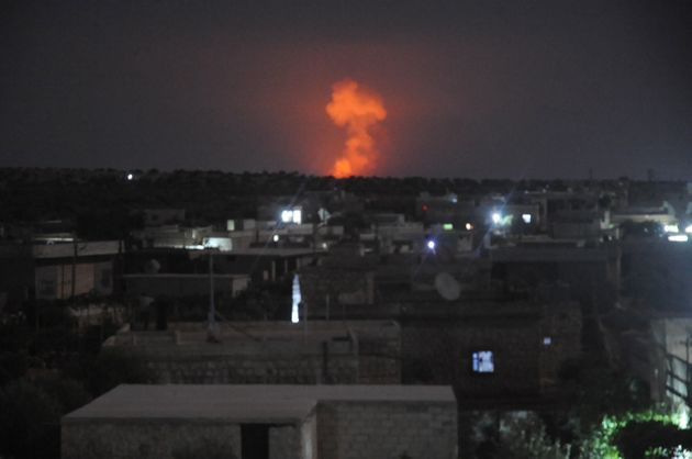 Smoke rises after an ammunition depot belongs to Assad Regime forces, exploded due to an unknown reason...