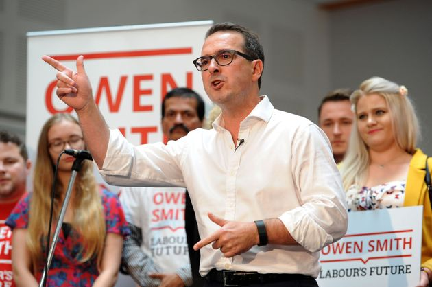 Labour leadership contender Owen Smith on stage as he launches his campaign at the Coleg y Cymoedd in...