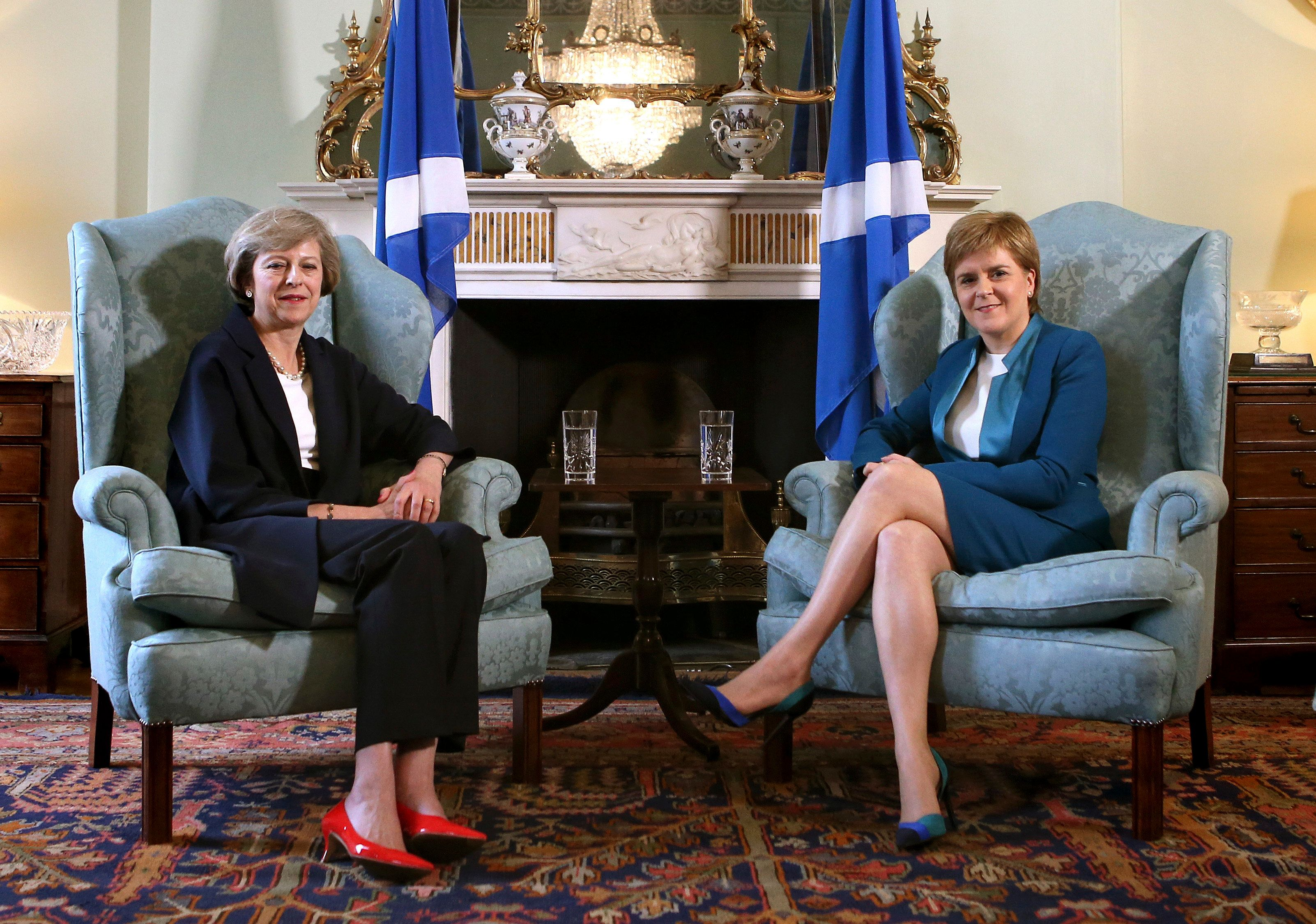 New British Prime Minister Theresa May meeting First Minister of Scotland, Nicola Sturgeon at Bute House in Edinburgh, Scotland, July 15, 2016. REUTERS/James Glossop/Pool