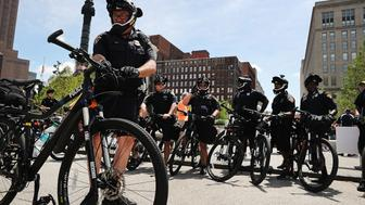 CLEVELAND, OH - JULY 17:  Cleveland police patrol in downtown ahead of the Republican National Convention on July 17, 2016 in Cleveland, Ohio. An estimated 50,000 people are expected in Cleveland, including hundreds of protesters and members of the media. The four-day Republican National Convention kicks off on July 18.  (Photo by Spencer Platt/Getty Images)