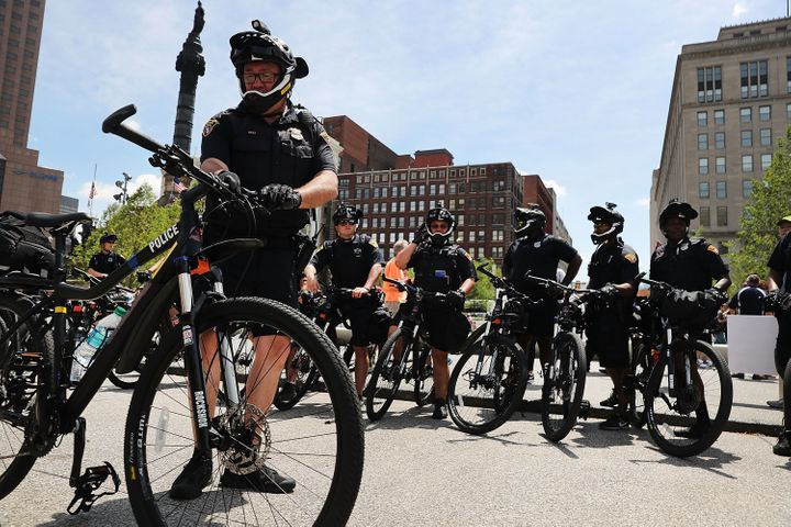 Cleveland police patrol in downtown ahead of the Republican National Convention on July 17, 2016 in Cleveland, Ohio.
