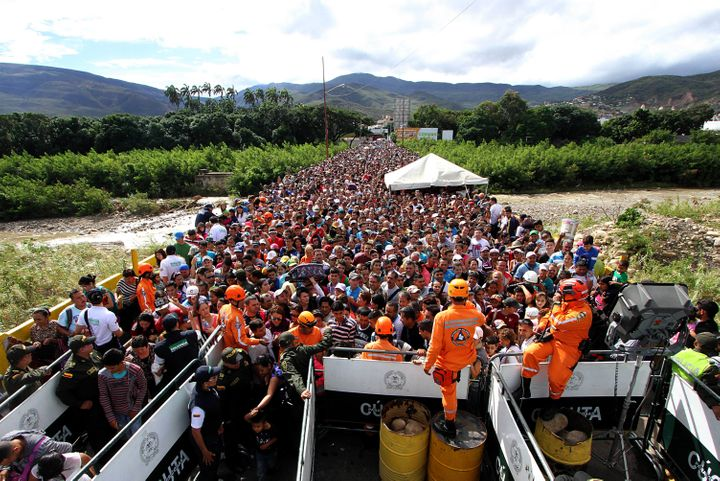 Venezuelans cross the Simon Bolivar bridge linking San Antonio del Tachira, in Venezuela with Cucuta in Colombia.