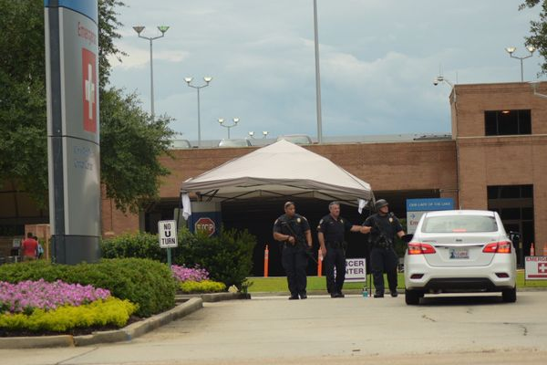Heightened security at Our Lady of the Lake where some injured officers were taken to be treated.