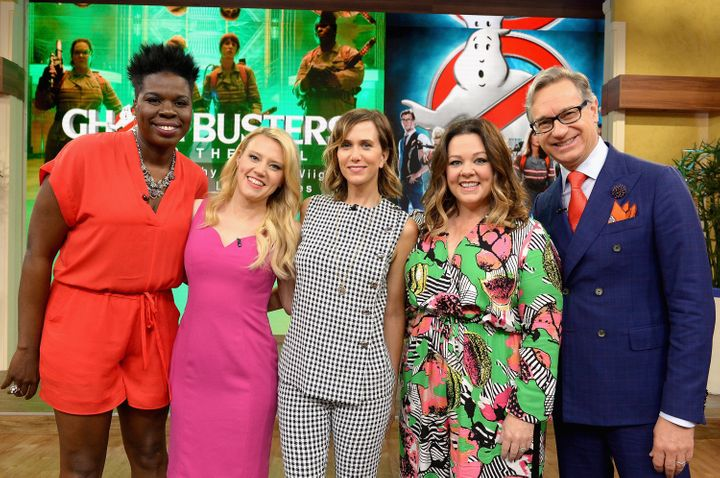"The cast of ""Ghostbusters,:  Leslie Jones, Kate McKinnon, Kristen Wiig, Melissa McCarthy and director, Paul Feig at"